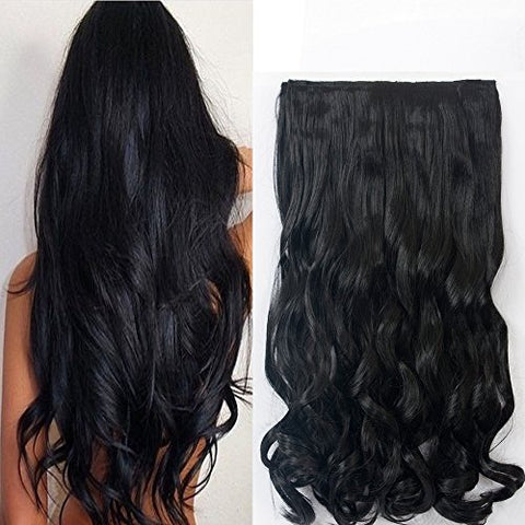 Neverland Beauty 22  3/4 Full Head One Piece Clip in Wavy Curly Hair Extensions Natural Black