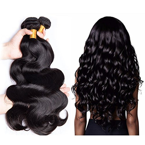 YOUFA Brazilian Virgin Hair Body Wave Human Hair Extensions 3 Bundles 8A Unprocessed Remy Hair Weave Wefts With Mixed Length Natural Color (14 16 18)