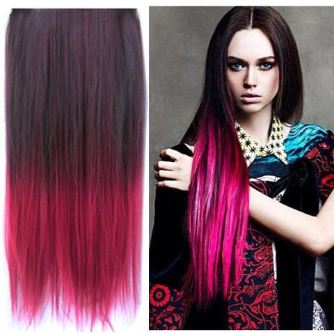Uniwigs Ombre Dip-dye Color Clip in Hair Extension 60cm Length for Fashion Women (Black to red)