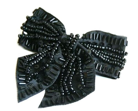 Black Beads Bow Hair pin