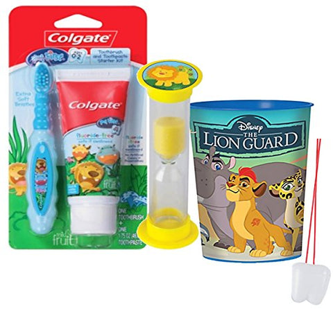 Jungle Safari Inspired 4pc Bright Smile Toddler Toothbrush Trainning Set! Includes Soft Manual Toothbrush, Trainning Toothpaste, Brushing Timer & Mouthwash Rinse Cup!