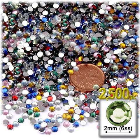 The Crafts Outlet 2500-Piece Round Tiny Rhinestones for Nails, 2mm, Multi Assortment