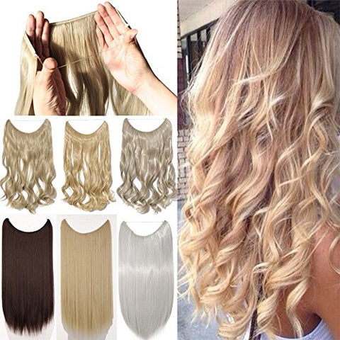 20  Straight/curly Synthetic Hair Extensions - Transparent wire / No clips, No glue, No Tape, No Damage! Brown Black Blonde Hairpieces