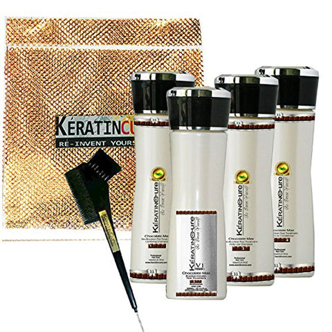 Keratin Cure V1 - 4 Piece Kit Chocolate Hair Treatment Intense Straightening Strengthening Hair 160 Ml 5 Fl Oz