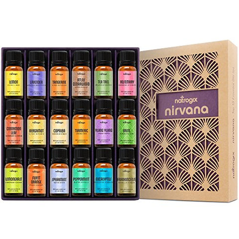 Natrogix Nirvana Essential Oils - Top 18 Essential Oil Set 100% Pure Therapeutic Grade 18/10ml Incl. Lavender, Moroccan Rosemary, Tea Tree, Eucalyptus, Lemongrass and 13 More w/ Free E-Book