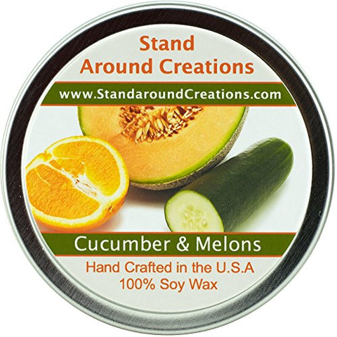 Premium 100% All Natural Soy Wax Aromatherapy Candle - 4oz Tin - Cucumber & Melons: A fruity honeydew melon with green cucumber.