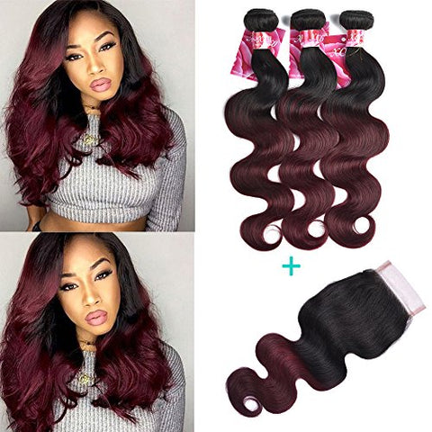 XCCOCO Hair Black to Wine Red Ombre Two Tone Body Wave Hair 3 Bundles with 4X4 Lace Frontal Brazilian Body Wave Virgin Lace Closure and Hair Bundles (T1B/99J,12 12 12 +10 )