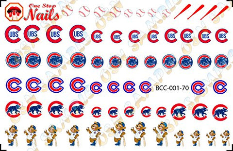 Chicago Cubs Clear waterslide nail decals (Nail tattoos) V1. Set of 70.