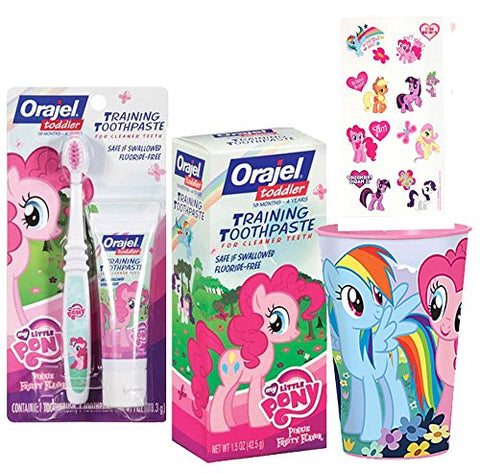 My Little Pony Inspired  Frienship is Magic  4pc. Bright Smile Toddler Toothbrush Trainning Set! Plus Bonus My Little Pony Reward Tattoos!
