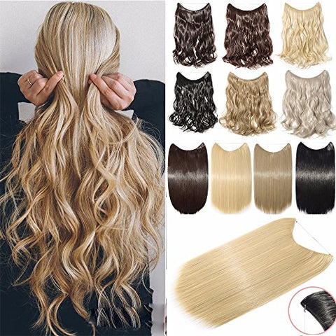Hair Extensions 20  90G Invisible Wire No Clips in Full Head Hair Extension Secret Fish Line Hairpieces Real Natural Human Made Synthetic Hair for Women y(ash blonde mix bleach blonde-curly)