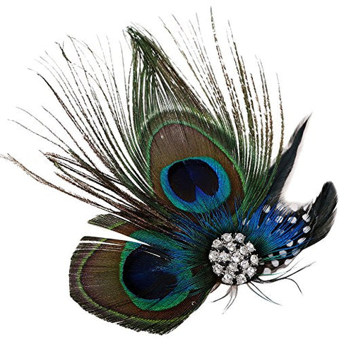 AshopZ Sweet Cosplay Costume Peacock Feather Hair Clip w/ Rhinestones