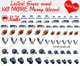 Seattle Seahawks Clear Vinyl PEEL and STICK (NOT Waterslide) nail decals/stickers V1 (Set of 68)