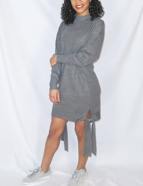 Side Tie Sweater Dress