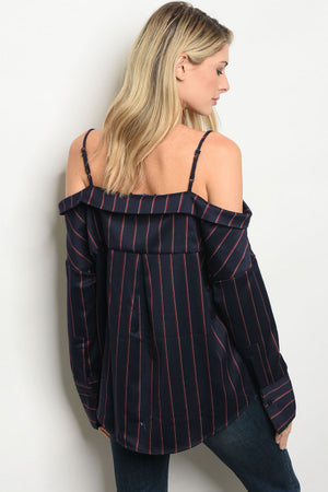 Off Shoulder Button Up