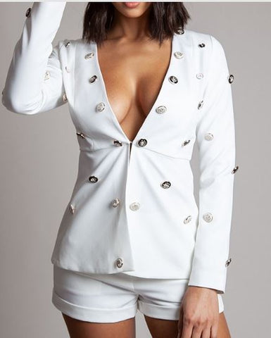 Button Accent Blazer Short Suit