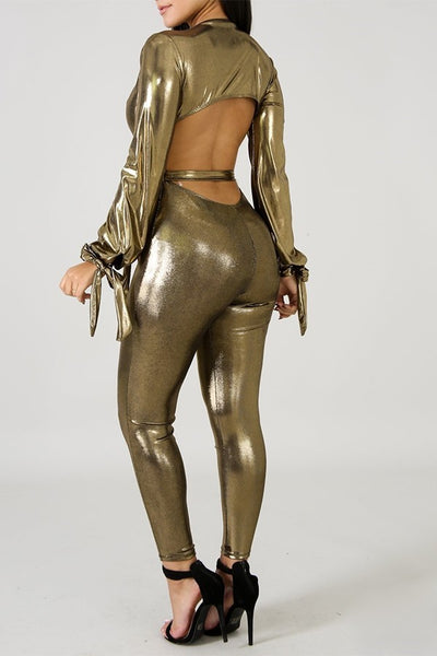 Metallic Open Back Jumpsuit