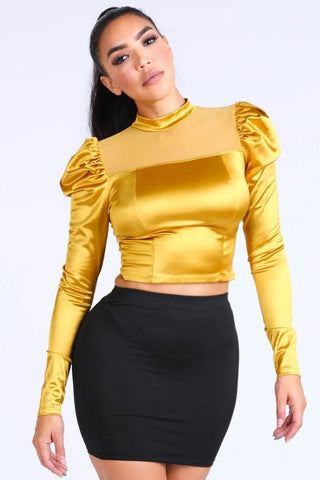 Satin Puff Sleeve Crop