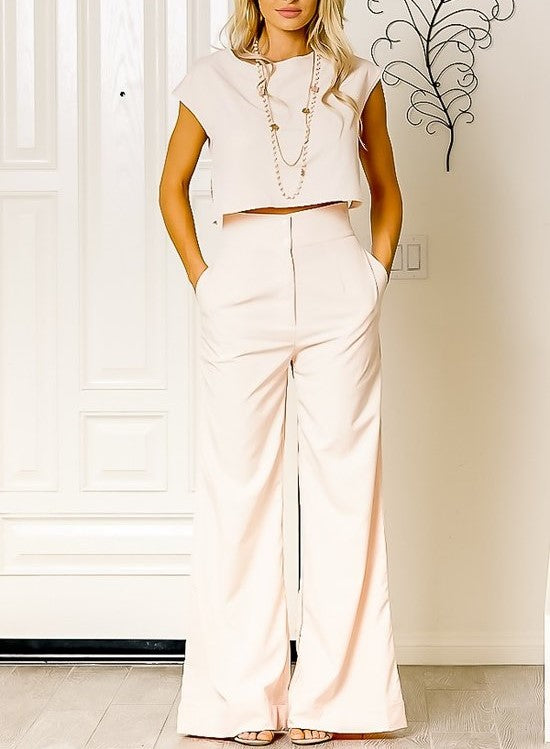 Short Sleeve Set with Wide Leg Pants