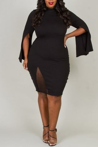 Flare Sleeve Bodycon Dress