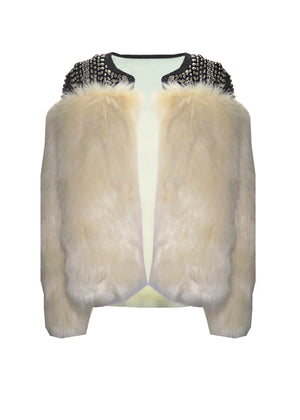 Embellished Faux Fur Jacket