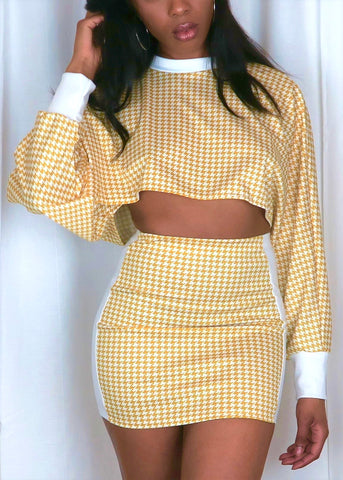 Houndstooth Crop Set