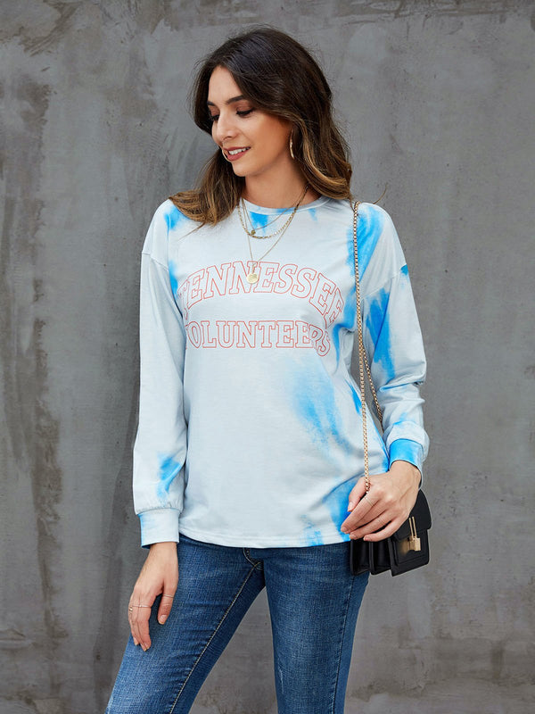 Blue Letter Casual Sweatshirt