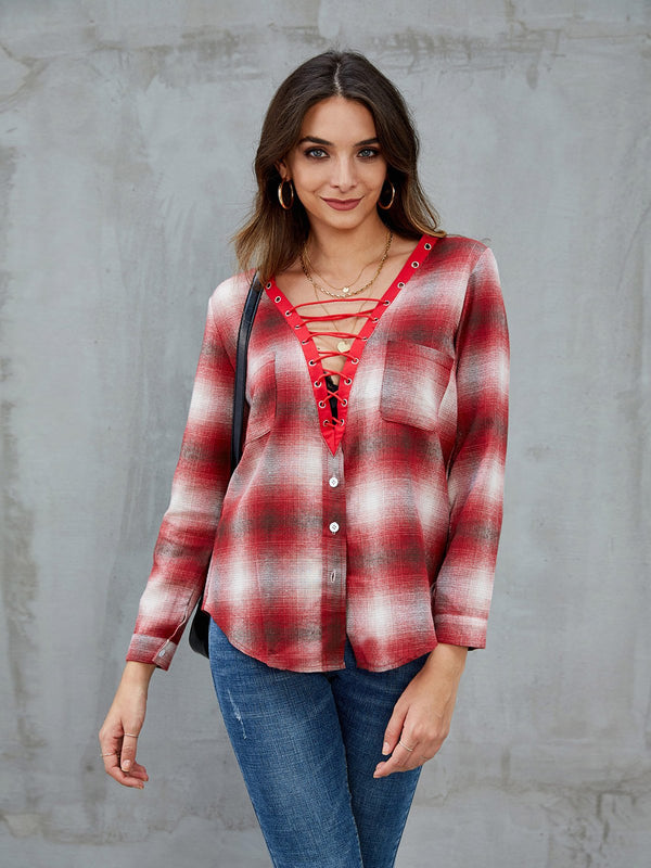 Red Casual Shift Lace Up V Neck Shirts & Tops