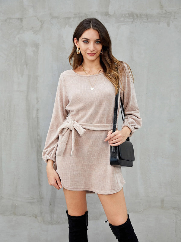 Khaki Long Sleeve Casual Dresses