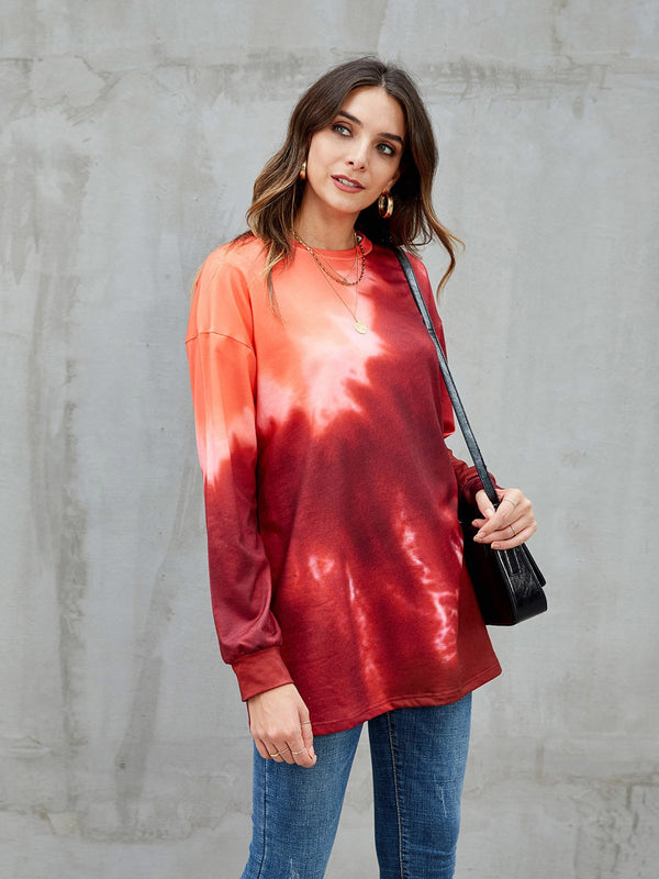 Red Shift Long Sleeve Ombre/tie-Dye Sweatshirt