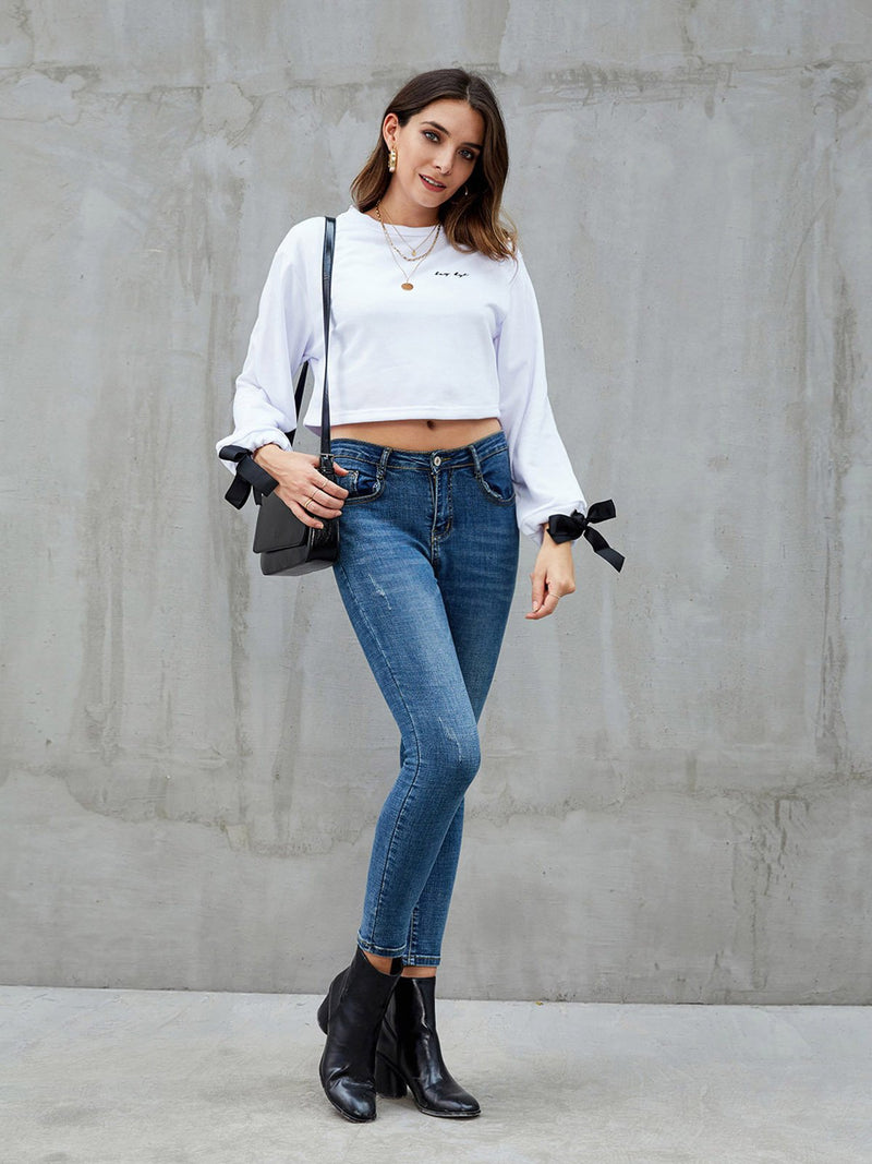 White Crew Neck Cotton Solid Long Sleeve Sweatshirt