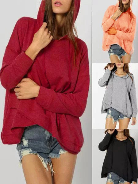 4 Colors Asymmetric Drawstring Sweet Cotton-Blend Solid Hoodies