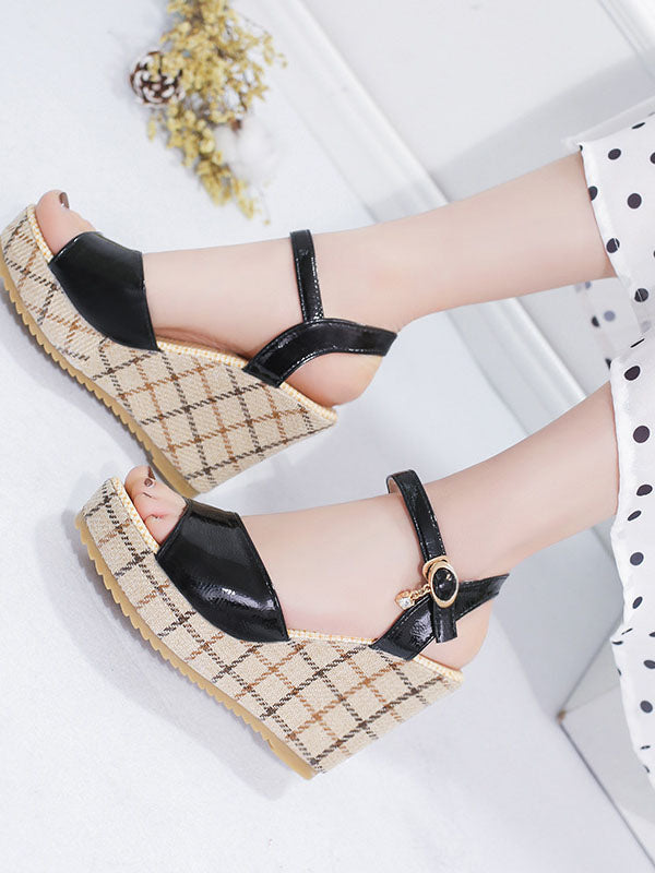 Wedge heel Peep toe Office & Career Pu Sandals