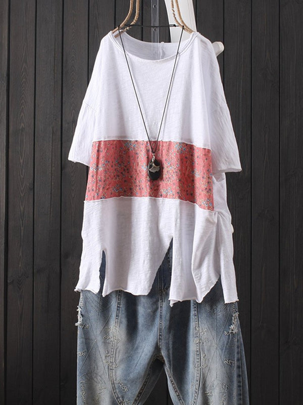 Print Patch Distressed Short Sleeve Casual T-Shirt