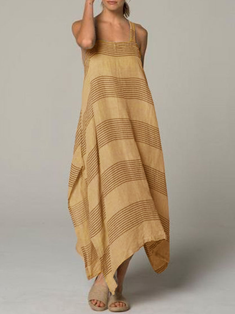 Striped Cotton-Blend Sleeveless Casual Dress