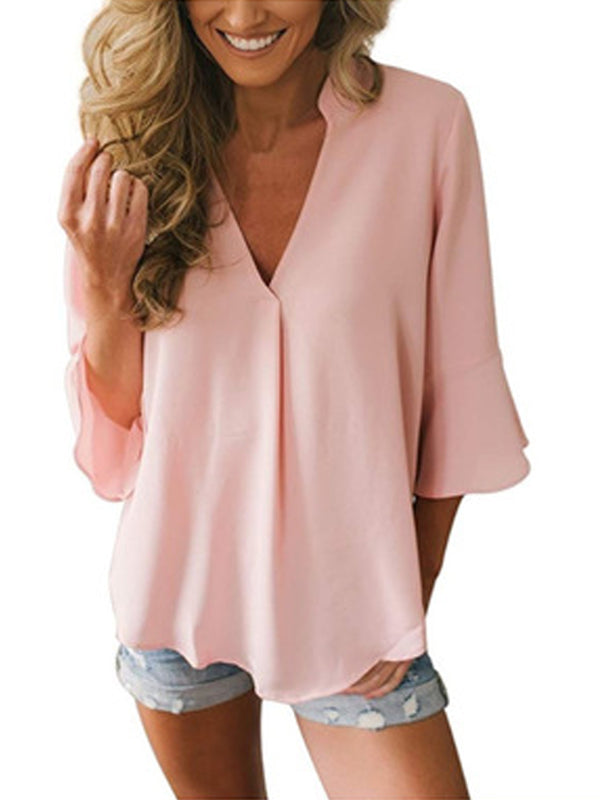 V Neck Solid 3/4 Sleeve Casual Blouse Daily