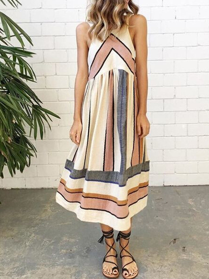 Vintage Striped Print  Round Neck A-Line Maxi Dress