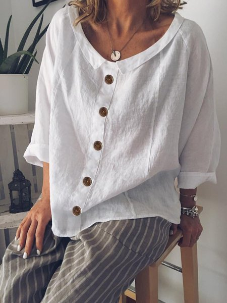 Peter Pan Collar Buttoned Casual Cotton-Blend T-Shirt