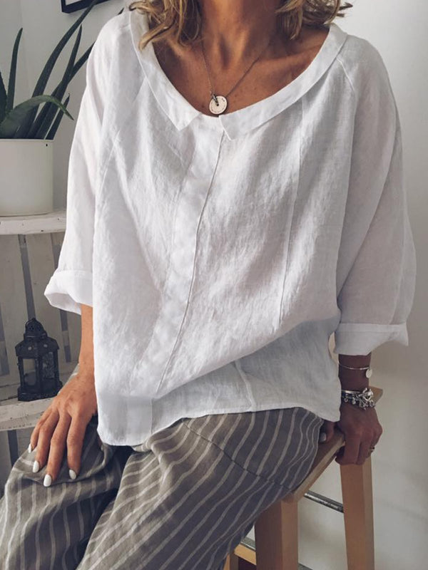 Peter Pan Collar Casual Long Sleeve Solid Blouse