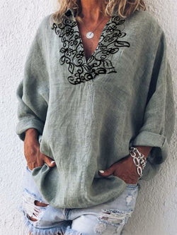 Embroidered V Neck Long Sleeve T-Shirt