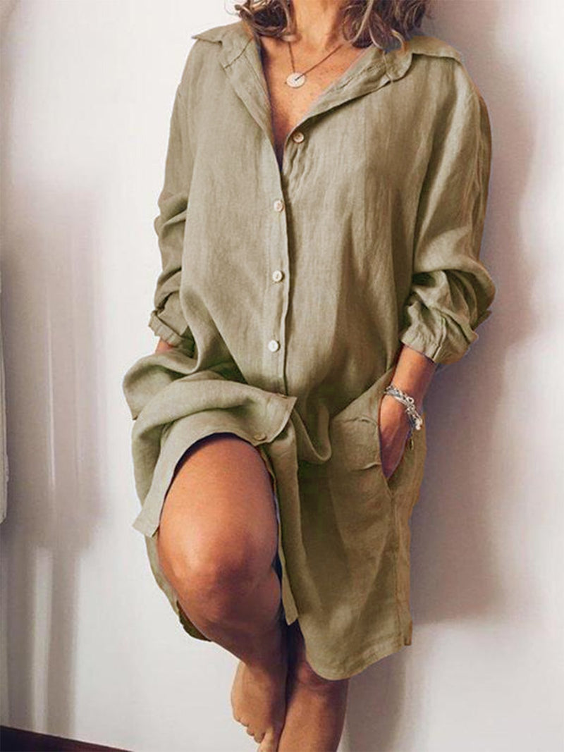 Casual V Neck Long Sleeve Solid Shirt Dress