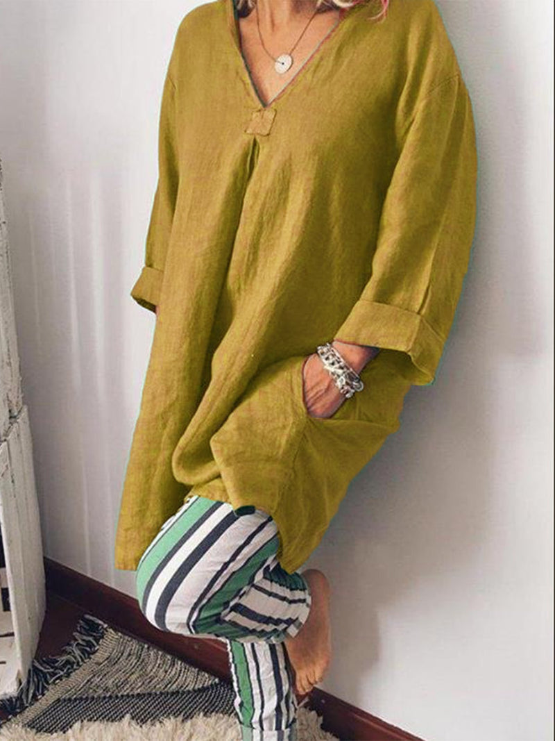 V neck Casual Long Sleeve Shirts & Tops