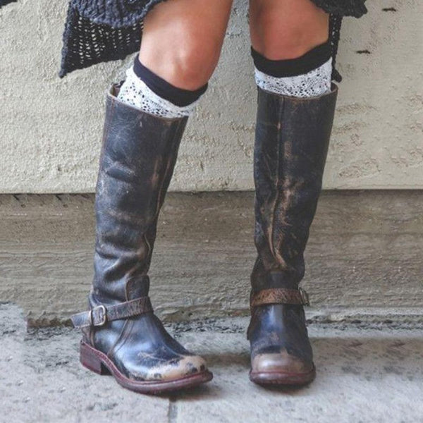 Black Distressed  Buckle Boots