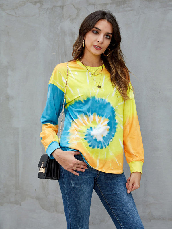 Yellow Ombre/tie-Dye Crew Neck Long Sleeve Sweatshirt