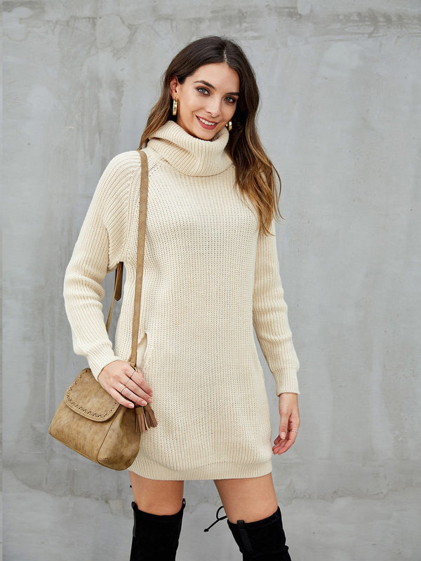 Beige Shift Casual Long Sleeve Dresses