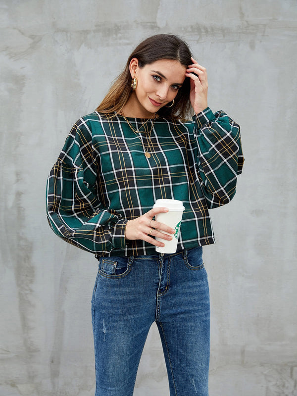 Green Crew Neck Casual Checkered/plaid Shirts & Tops