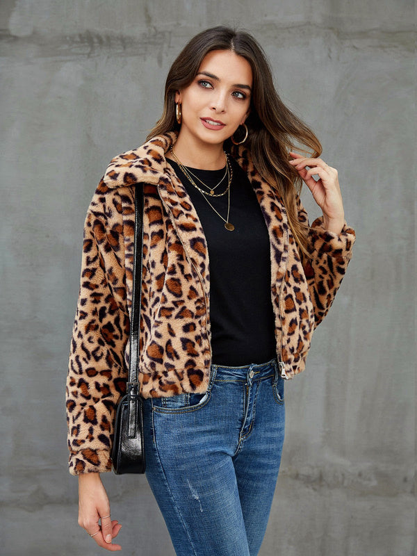 Brown Casual Shift Shawl Collar Leopard Print Outerwear
