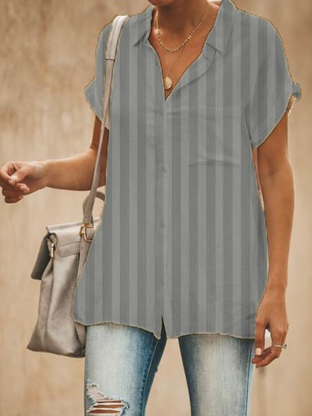 Striped Casual Short Sleeve Blouse