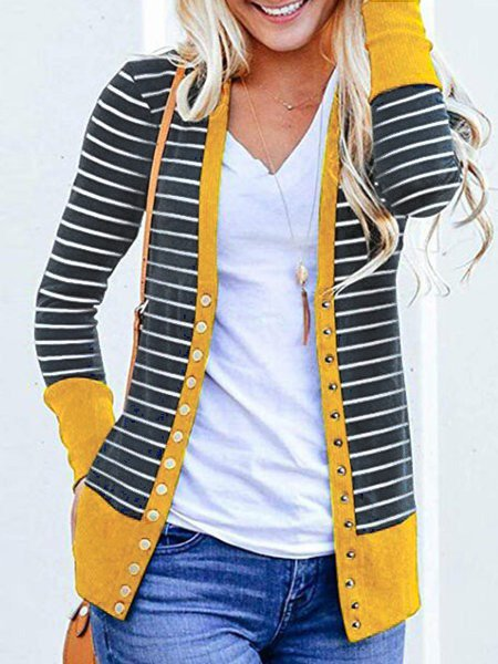 3 Colors 2018 Stylish Women's Outerwear Buttoned Stripes Paneled Cardigans
