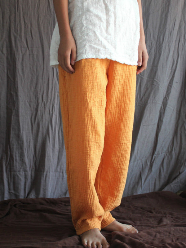 Casual solid Cotton pants