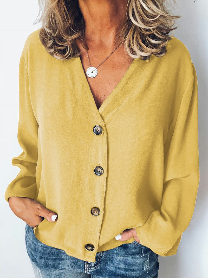 Long Sleeve Solid Casual V Neck Blouse